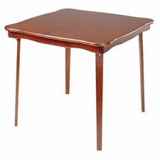 Scalloped Edge Wood Folding Card Table