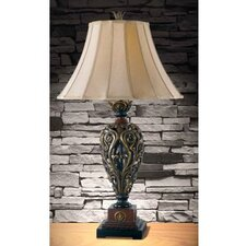 "Iron Lace 32.75"" H Table Lamp with Bell Shade"
