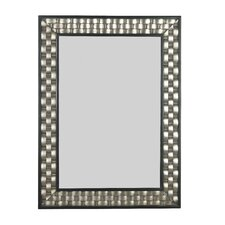 Checker Wall Mirror in Brushed Silver with Black Accents