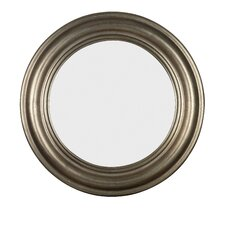 Nob Hill Round Wall Mirror in Antique Silver
