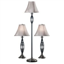 Muilti-Pack Vernon 3 Piece Table Lamp and Floor Lamp Set with Bell Shade