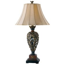 """Iron Lace 32.75"""" H Table Lamp with Bell Shade"""