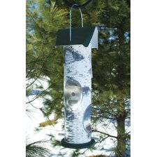 Birch Log Thistle Seed Tube Bird Feeder
