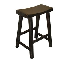 "24"" Saddleseat Counter Stool (Distressed Black)"