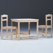 <strong>International Concepts</strong> Unfinished Wood Kids' 3 Piece Table and Chair Set