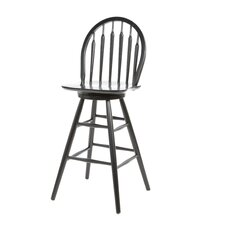 "30"" Windsor Arrowback Swivel Counter Stool (Black)"