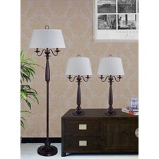 3 Piece Metal and Resin Table Lamp Set with Linen Shades