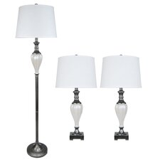 3 Piece Metal and Ceramic Table Lamp Set