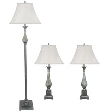 3 Piece Metal and Ceramic Table Lamp Set with Softback Shades