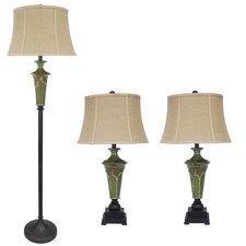 3 Piece Ceramic Table Lamp Set
