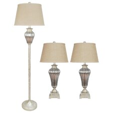 3 Piece Metal and Glass Table Lamp Set with Hardback Shades