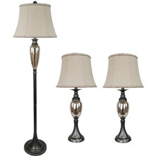 Table and Floor Lamp Set (Set of 3)