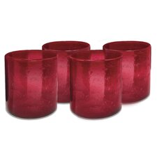 Iris Double Old Fashioned Glass in Ruby (Set of 4)