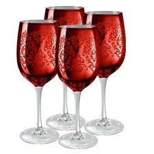 Brocade Wine Glass in Red (Set of 4)