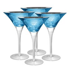 Brocade Martini Glass in Blue (Set of 4)