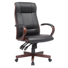 Affinity High-Back Leather Executive Chair with Wood Trim
