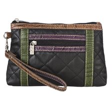Quilted Cosmetic Wristlet in Black