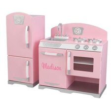 2 Piece Pink Retro Kitchen & Refrigerator Set