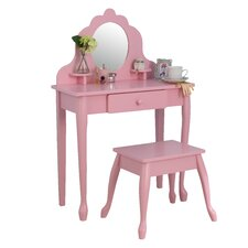 Diva 2 Piece Vanity Set with Mirror in Pink