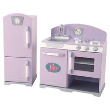 2 Piece Retro Kitchen & Refrigerator Set