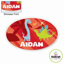 Personalized Dinosaur Red Oval Wall Plaque