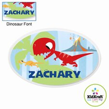 Personalized Dinosaur Blue Oval Wall Plaque