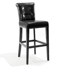"Urbanity Sangria 26"" Tufted Leather Barstool in Black"