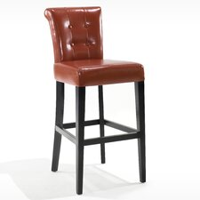 "Urbanity Sangria 30"" Tufted Leather Barstool in Burnt Sienna"