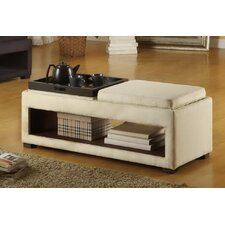 Cancun Microfiber Double Tray Storage Bench in Cream
