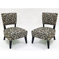 Modern Geometric Fabric Slipper Chair (Set of 2)
