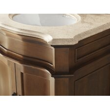 "30.81"" W Cream Beige Marble Vanity Top with Undermount Sink Cutout"