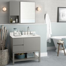 "Contempo Chloe 36"" W Wood Cabinet Slate Gray Vanity Set"