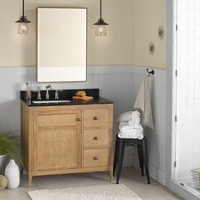 "Neo-Classic Briella 36"" W Wood Vintage Honey Cabinet Vanity Set"