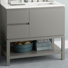 "Chloe 36"" W Wood Cabinet Slate Gray Vanity Base"
