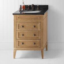 "Neo-Classic Laurel 24"" W Wood Cabinet Vintage Honey Vanity Set with Black Granite Top"