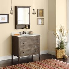 "Neo-Classic Laurel 36"" W Wood Cabinet Vintage Café Vanity Set with Wide White Vanity Top"