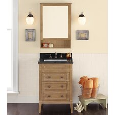 "Neo-Classic Laurel 24"" W Wood Cabinet Vintage Honey Vanity Set with Broad Black Top"