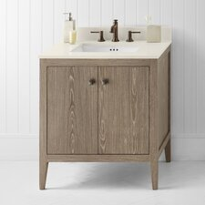 "Neo-Classic Sophie 30"" W Wood Cabinet Aged Oak Vanity Set"