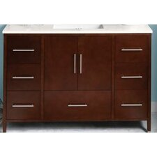 "Contempo Juno 50"" W Standard Bathroom Dark Cherry Vanity Base w/ Three Holes"