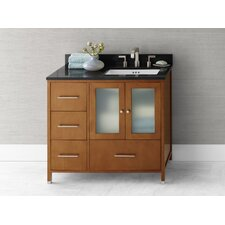 "Contempo Juno 38.35"" W Cinnamon Vanity Base w/ Single Hole Faucet Drillings and Right Side Door"
