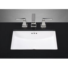 Rectangle Ceramic Undermount Bathroom Sink with Overflow