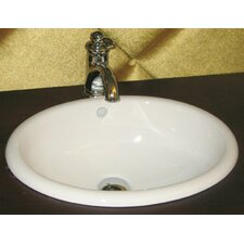 Oval Semi Recessed Ceramic Vessel Bathroom Sink with Overflow