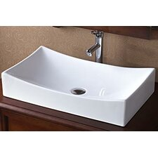 Rectangle Ceramic Vessel Bathroom Sink without Overflow