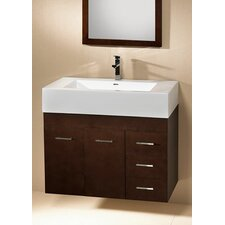"Modular Bella 32"" Single Wall Mount Bathroom Vanity Set"