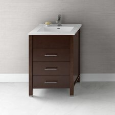 "<strong>Ronbow</strong> Contempo 23"" Dark Cherry Kali Vanity and White Integral Ceramic Top"
