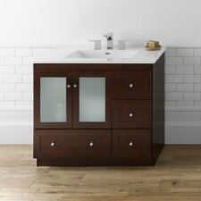 "Modular 36"" Dark Cherry Shaker Vanity and White Ceramic Integral Sinktop Set"