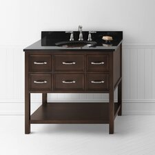 "Neo-Classic 36"" Café Walnut Newcastle Vanity with Black Granite Top"