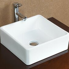 <strong>Ronbow</strong> Square Tapered Ceramic Vessel Bathroom Sink without Overflow