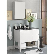 "Contempo Chloe 36"" W Wood Glossy White Cabinet Vanity Set"