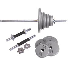 Grey 160 lb Weight Set / Threaded Ends